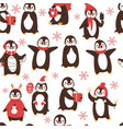 cute penguins seamless pattern with cartoon vector image