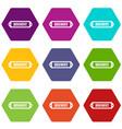 discount label icon set color hexahedron vector image vector image