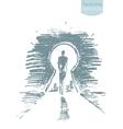 Drawn man standing open keyhole sketch