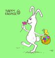 easter bunny rabbit with basket full eggs vector image