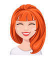 facial expression of a redhead woman - laughing vector image