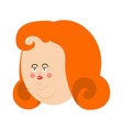 fat woman face plump person very thick girl avatar vector image vector image