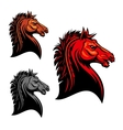 Fiery red wild mustang horse tribal mascot design vector image