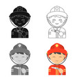 fireman icon cartoon single silhouette fire vector image vector image