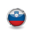flag of slovenia button with metal frame and vector image vector image