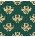 Floral seamless pattern with beige on dark green vector image vector image