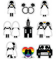 Gay woman wedding 2 icons set with rainbow element vector image