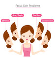girl with facial skin problems vector image