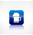 Glass of beer web icon Application button vector image vector image