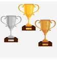 Gold Silver Bronze trophy cup vector image vector image