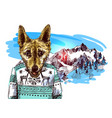 hand drawn dog sketch style drawing christmas vector image