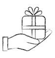hand human with gift box present icon vector image