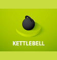 kettlebell isometric icon isolated on color vector image