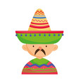 man in clothes hat traditional mexican icon vector image