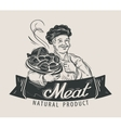 meat beef sausage logo design template vector image