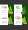 merry bright wishes xmas holidays greeting cards vector image vector image