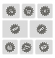 monochrome shopping icons vector image