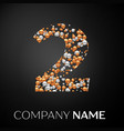number two logo gold-silver dots vector image