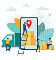 online tracking the movement of parcels in a vector image vector image