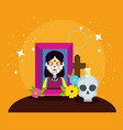 picture with skull and flowers to day of the dead vector image vector image