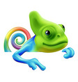 rainbow chameleon pointing down vector image vector image