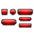 red buttons set 3d glass icons with chrome frame vector image vector image