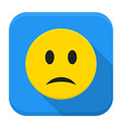 Sad yellow smile app icon with long shadow vector image vector image