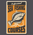 sea fishing courses retro banner of fish and hook vector image vector image