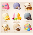 set cartoon icons ice cream scoops vector image