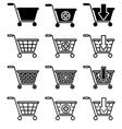 set of sale basket pictogram vector image vector image