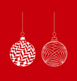 set of white hand drawn christmas tree ball toy vector image vector image