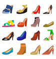 set womens shoes flat design vector image