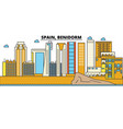 Spain benidorm city skyline architecture vector image