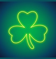 st patricks day clover neon sign vector image vector image
