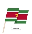 Suriname Ribbon Waving Flag Isolated on White