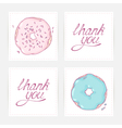 Thank you cards with hand lettering Doodle design vector image