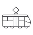 tram thin line icon transportation and railway vector image vector image