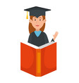 woman student graduated with book vector image vector image