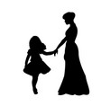 silhouette family girl with mom vector image