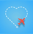 airplane flying with dashed route like a heart vector image