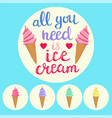 background with colorful ice cream cones and vector image