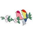 Birds with flowers tattoo stencil color vector image