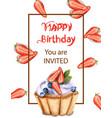 birthday cupcake invitation card watercolor vector image vector image