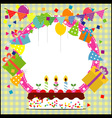 Birthday Frame with BalloonCake and Party Hat vector image vector image
