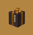black friday gift box with a gold ribbon bow vector image vector image