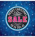 blue christmas background label with sale offer vector image vector image
