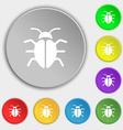 Bug Virus icon sign Symbol on eight flat buttons vector image