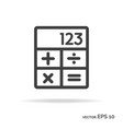 calculator outline icon black color vector image vector image