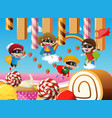 children playing in candy land vector image vector image