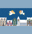 christmas angels above town in sky winter holiday vector image